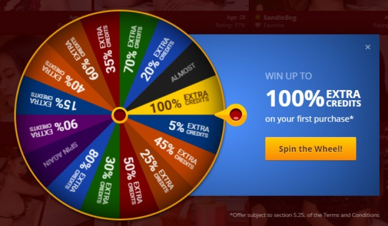 New members can win up to 100% extra credits at Live Sex Asian