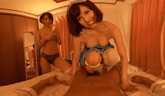 Umi Hirose and Mizuki Hayakawa in a lesbian VR scene at JVR Porn